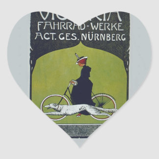 Vintage Bicycle Lady & Dog Heart Sticker