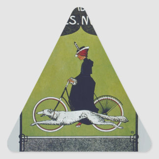 Vintage Bicycle Lady & Dog Triangle Sticker