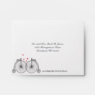 Vintage Bicycle Love Wedding RSVP Envelopes