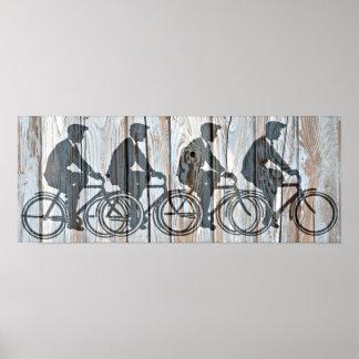 Vintage Bicycle Men Rustic Wooden Board Wall Art