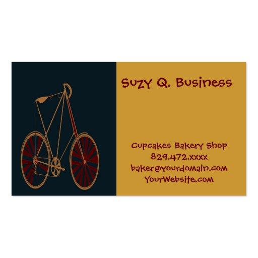 Vintage Bicycle Old School Blue Red Bike Business Card