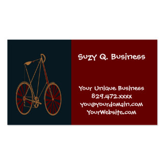 Vintage Bicycle Old School Blue Red Bike Double-Sided Standard Business Cards (Pack Of 100)