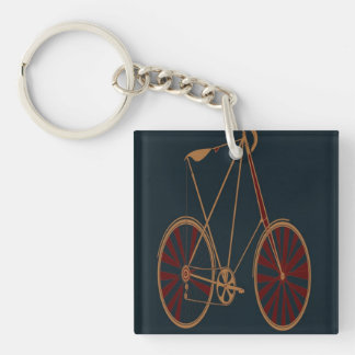 Vintage Bicycle Old School Blue Red Bike Double-Sided Square Acrylic Keychain