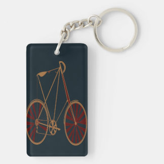 Vintage Bicycle Old School Blue Red Bike Double-Sided Rectangular Acrylic Keychain