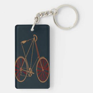Vintage Bicycle Old School Blue Red Bike Keychain