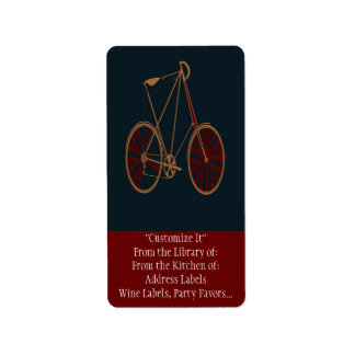 Vintage Bicycle Old School Blue Red Bike Address Label