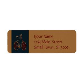 Vintage Bicycle Old School Blue Red Bike Return Address Label