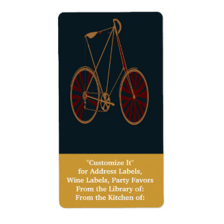 Vintage Bicycle Old School Blue Red Bike Shipping Label
