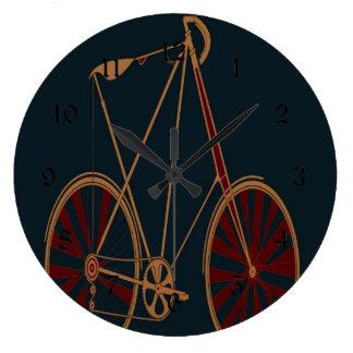 Vintage Bicycle Old School Blue Red Bike Large Clock