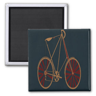 Vintage Bicycle Old School Blue Red Bike 2 Inch Square Magnet