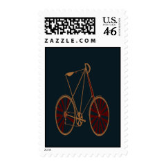 Vintage Bicycle Old School Blue Red Bike Postage
