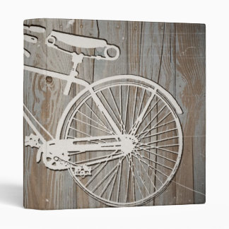 Vintage Bicycle on Rustic Wooden Board 3 Ring Binder