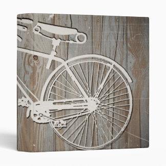 Vintage Bicycle on Rustic Wooden Board 3 Ring Binder