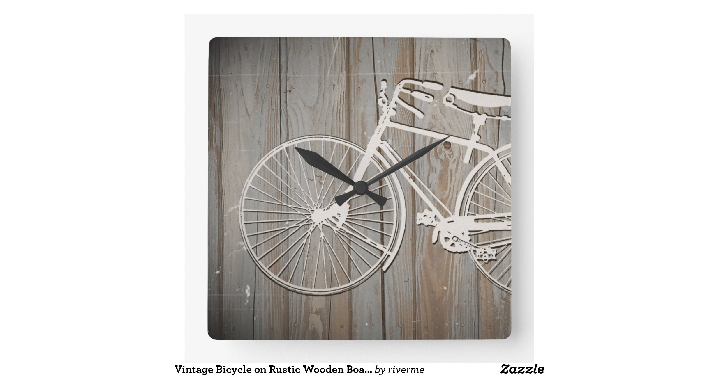 Wooden Board Wall Decor : Vintage bicycle on rustic wooden board wall art square