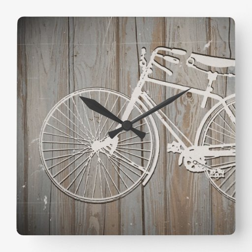 Vintage Bicycle on Rustic Wooden Board Wall Art Square ...