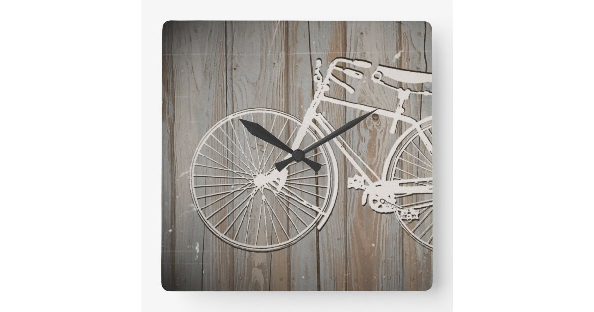Square wood wall decor : Vintage bicycle on rustic wooden board wall art square