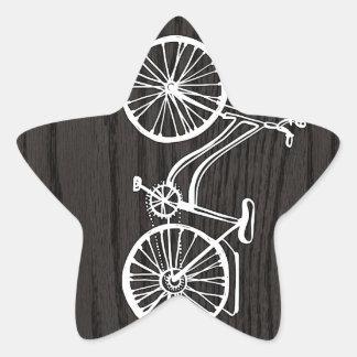 Vintage Bicycle On Woodgrain Star Sticker