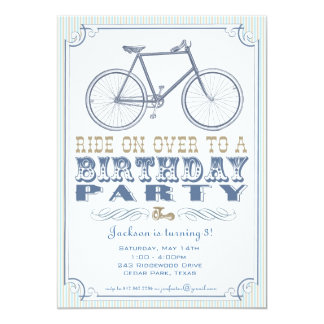 "Vintage Bicycle Party Invitation 5"" X 7"" Invitation Card"