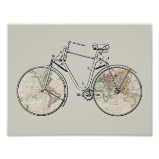 Vintage Bicycle Patent Art World Map Print