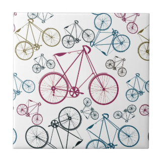 Vintage Bicycle Pattern Gifts for Cyclists Ceramic Tile