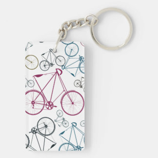 Vintage Bicycle Pattern Gifts for Cyclists Double-Sided Rectangular Acrylic Keychain