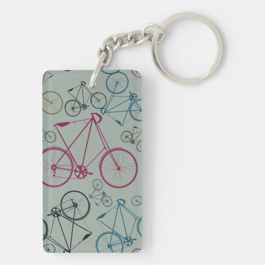 Vintage Bicycle Pattern Gifts for Cyclists Keychain