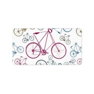 Vintage Bicycle Pattern Gifts for Cyclists Address Label