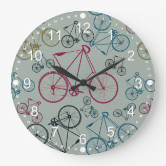 Vintage Bicycle Pattern Gifts for Cyclists Large Clock