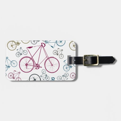 Vintage Bicycle Pattern Gifts for Cyclists Luggage Tag