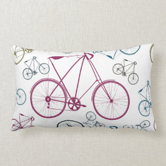 Vintage Bicycle Pattern Gifts for Cyclists Lumbar Pillow