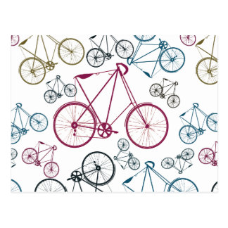 Vintage Bicycle Pattern Gifts for Cyclists Post Cards