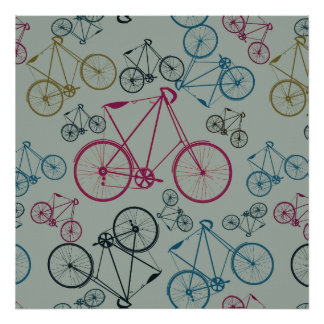 Vintage Bicycle Pattern Gifts for Cyclists Print