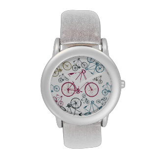 Vintage Bicycle Pattern Gifts for Cyclists Wrist Watch
