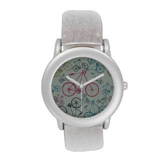 Vintage Bicycle Pattern Gifts for Cyclists Wristwatches
