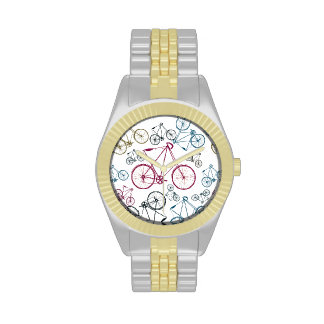 Vintage Bicycle Pattern Gifts for Cyclists Wristwatch