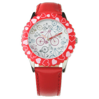 Vintage Bicycle Pattern Gifts for Cyclists Wrist Watches