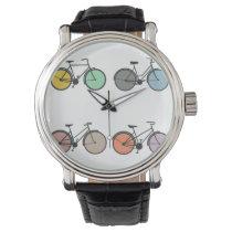 Vintage Bicycle Pattern Wrist Watches