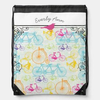 Vintage Bicycle Personalized Cute Bird Drawstring Bag