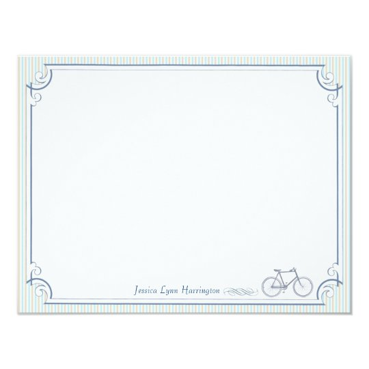 Vintage Bicycle Personalized Flat Note Cards
