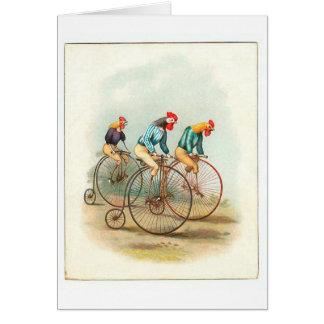 Vintage Bicycle Poster, Pennyfarthing Roosters Greeting Card
