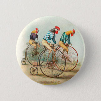 Vintage Bicycle Poster, Pennyfarthing Roosters Pinback Button