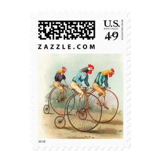 Vintage Bicycle Poster, Pennyfarthing Roosters Stamps