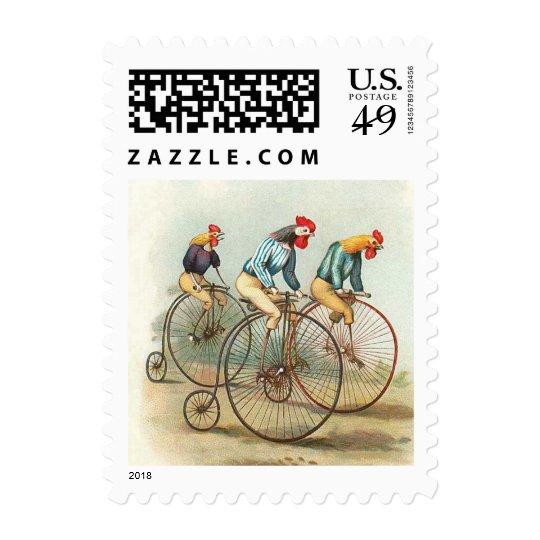 Vintage Bicycle Poster, Pennyfarthing Roosters Postage
