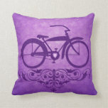 Vintage Bicycle Purple Pillow