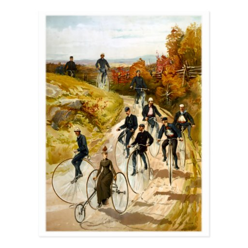 Vintage Bicycle Ride in the Country Postcard