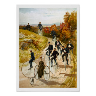 Vintage Bicycle Ride in the Country Poster