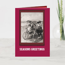 Vintage Bicycle Riding along the beach Holiday Card