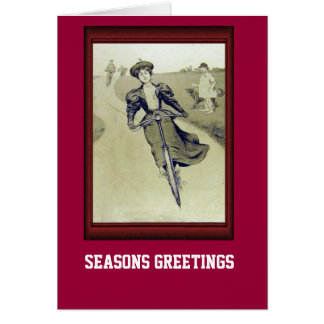 Vintage Bicycle  Rushing down hill Card