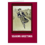 Vintage Bicycle  Rushing down hill Greeting Card