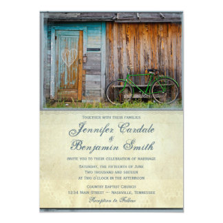 Vintage Bicycle Rustic Barn Wedding Invitations